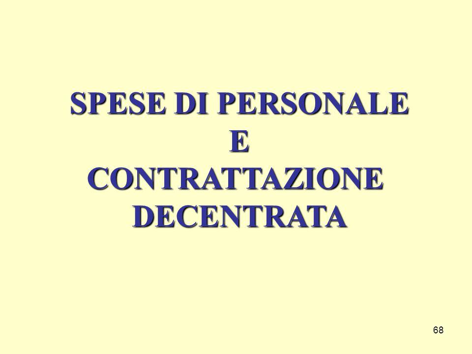 SPESE DI PERSONALE E CONTRATTAZIONE DECENTRATA