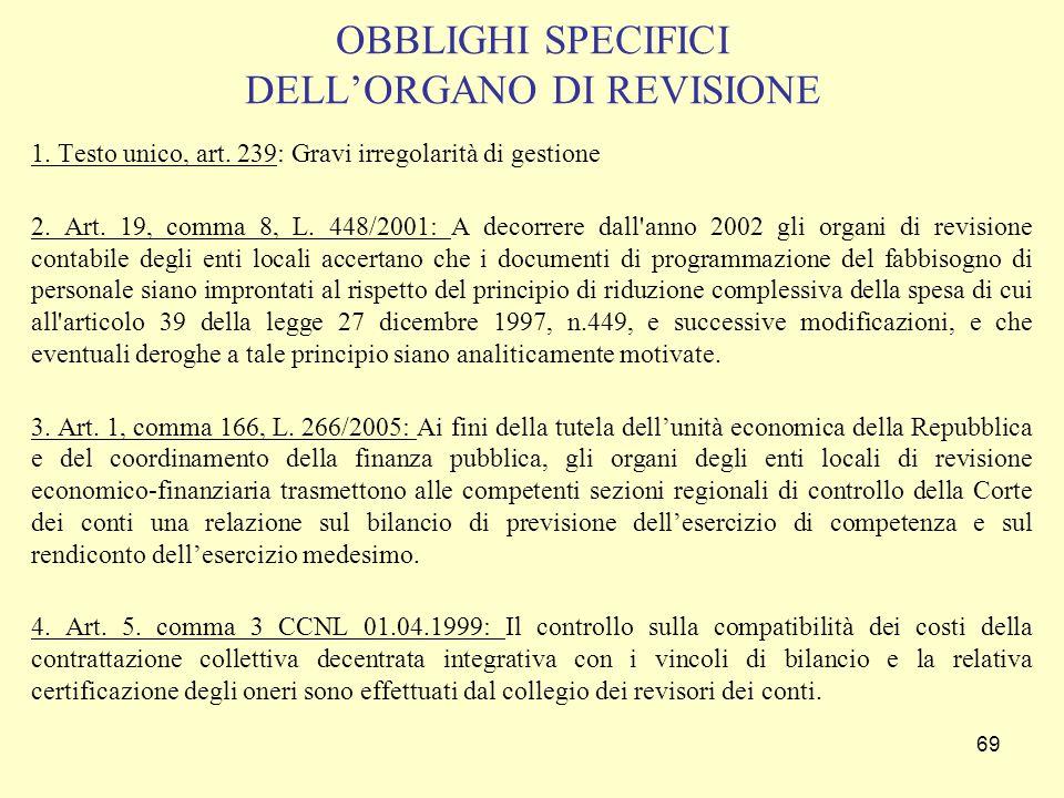 OBBLIGHI SPECIFICI DELL'ORGANO DI REVISIONE