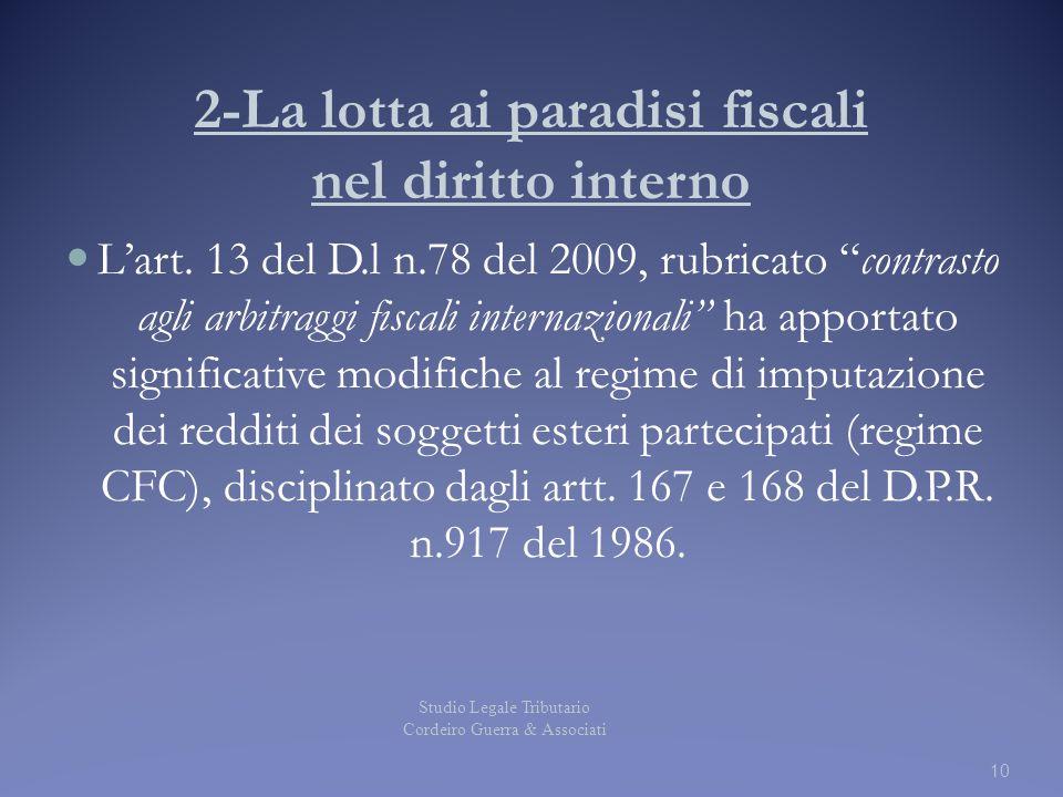 2-La lotta ai paradisi fiscali nel diritto interno