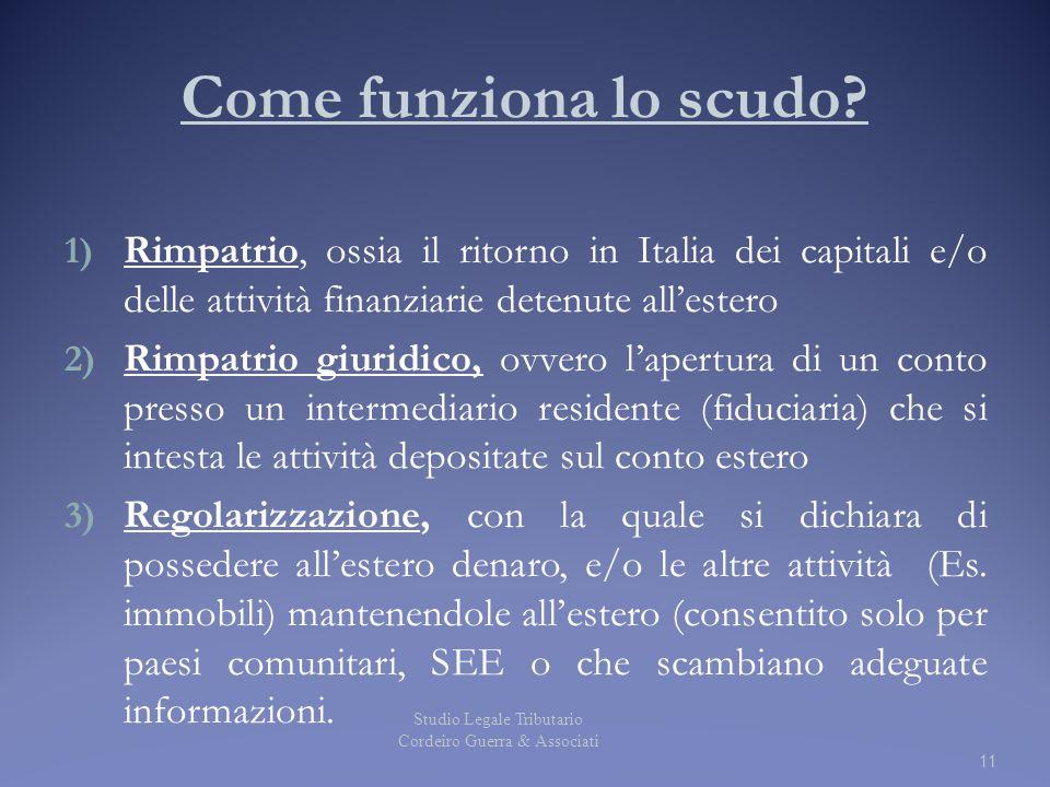 Come funziona lo scudo Rimpatrio, ossia il ritorno in Italia dei capitali e/o delle attività finanziarie detenute all'estero.