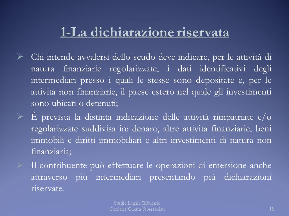 1-La dichiarazione riservata