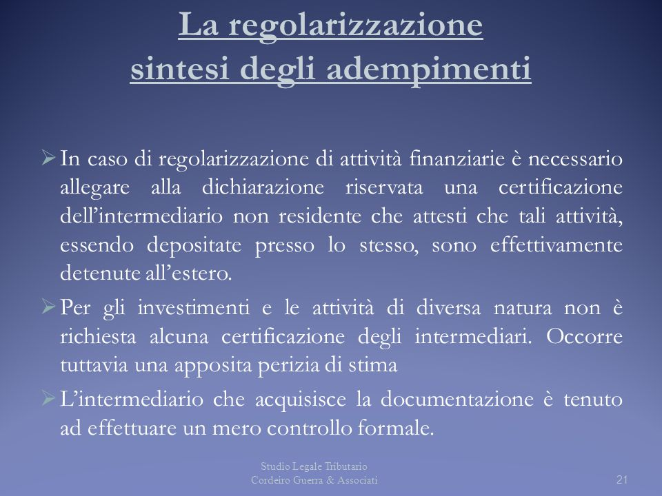 La regolarizzazione sintesi degli adempimenti