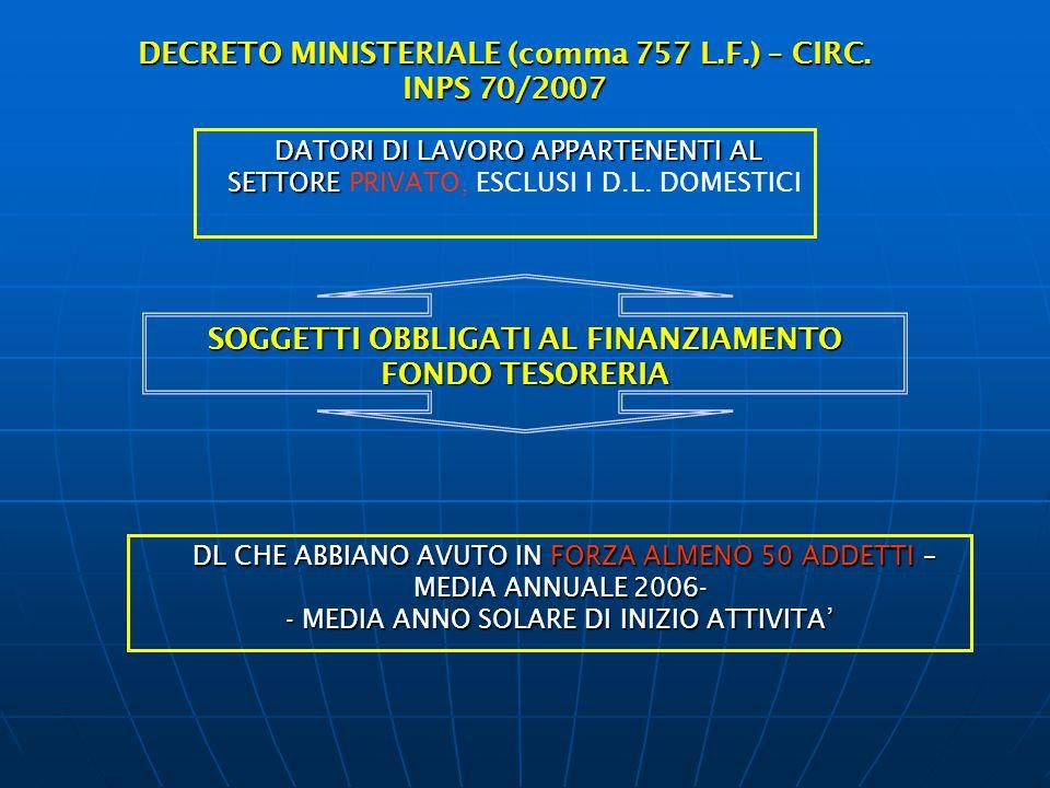 DECRETO MINISTERIALE (comma 757 L.F.) – CIRC. INPS 70/2007
