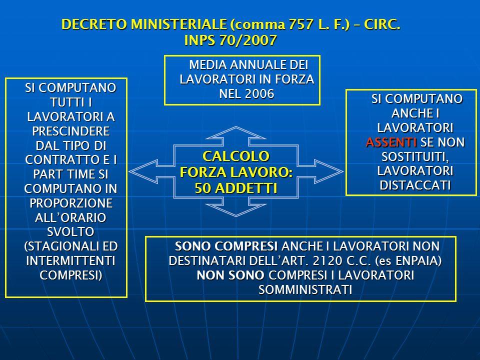 DECRETO MINISTERIALE (comma 757 L. F.) – CIRC. INPS 70/2007