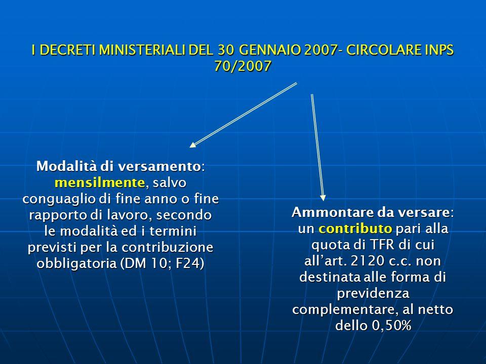 I DECRETI MINISTERIALI DEL 30 GENNAIO 2007- CIRCOLARE INPS 70/2007