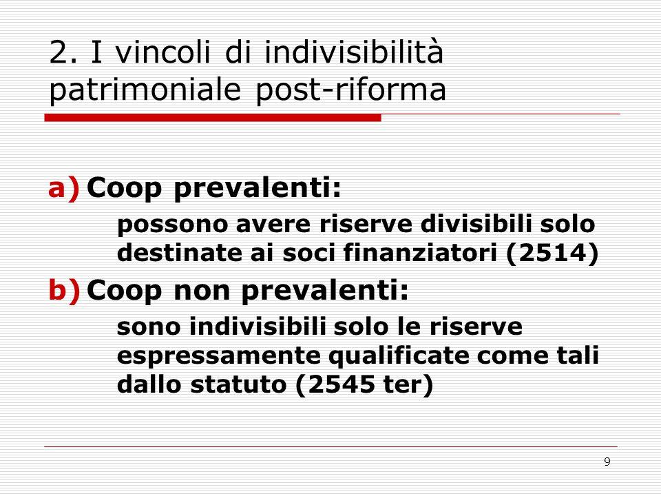 2. I vincoli di indivisibilità patrimoniale post-riforma