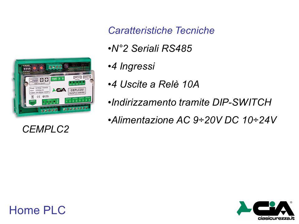 Home PLC Caratteristiche Tecniche N°2 Seriali RS485 4 Ingressi