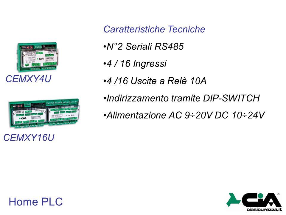 Home PLC Caratteristiche Tecniche N°2 Seriali RS485 4 / 16 Ingressi