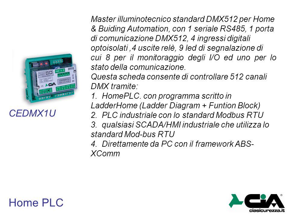 Master illuminotecnico standard DMX512 per Home & Buiding Automation, con 1 seriale RS485, 1 porta di comunicazione DMX512, 4 ingressi digitali optoisolati ,4 uscite relè, 9 led di segnalazione di