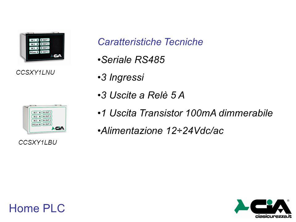 Home PLC Caratteristiche Tecniche Seriale RS485 3 Ingressi