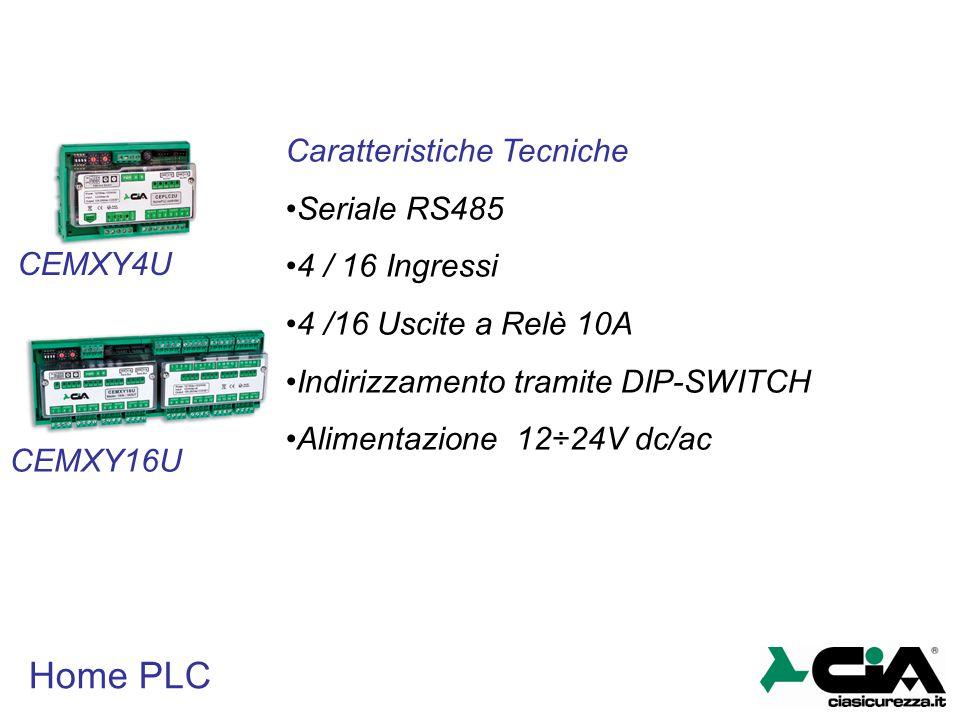 Home PLC Caratteristiche Tecniche Seriale RS485 4 / 16 Ingressi