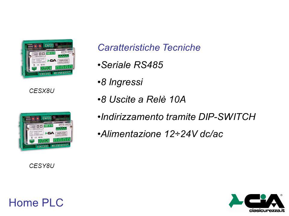 Home PLC Caratteristiche Tecniche Seriale RS485 8 Ingressi