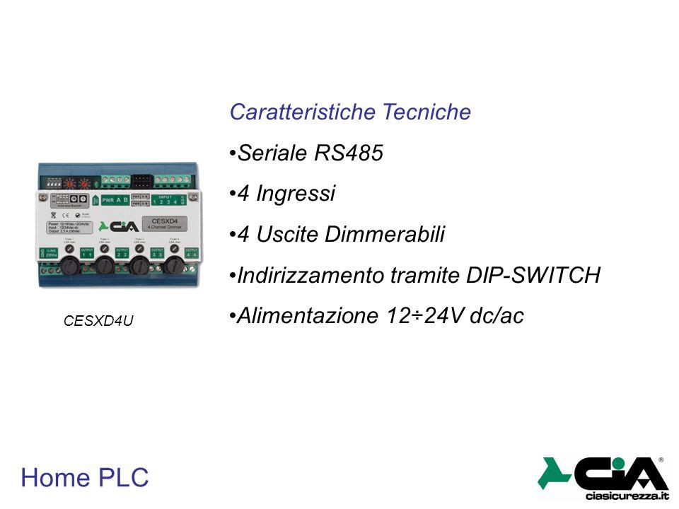 Home PLC Caratteristiche Tecniche Seriale RS485 4 Ingressi