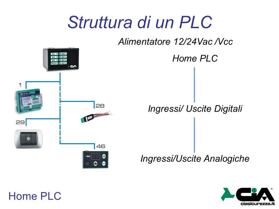 Struttura di un PLC Home PLC Alimentatore 12/24Vac /Vcc Home PLC