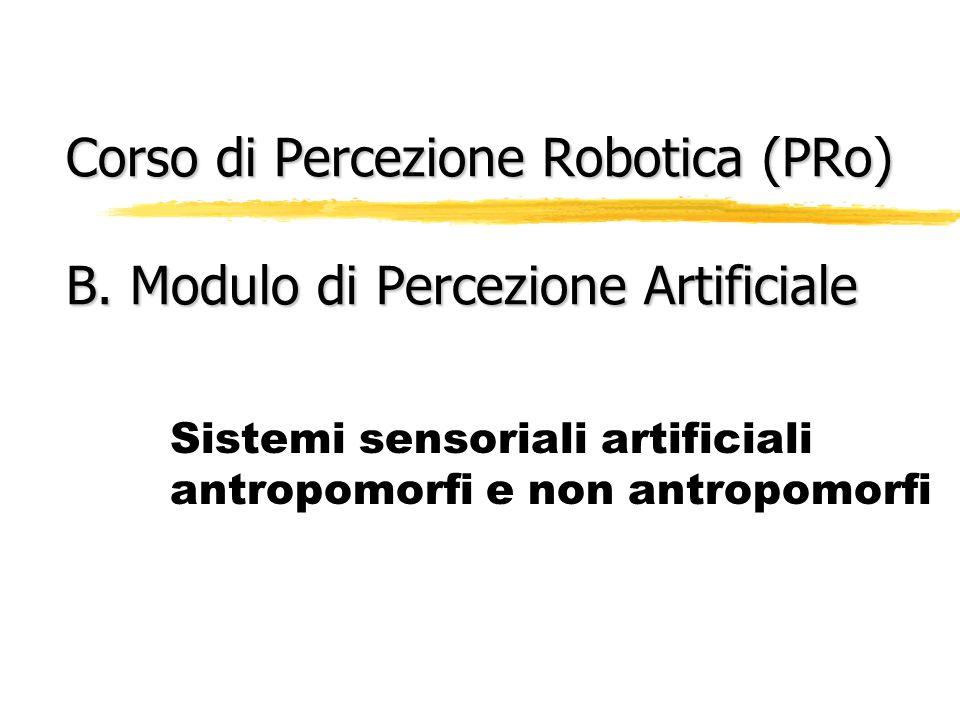 Corso di Percezione Robotica (PRo) B. Modulo di Percezione Artificiale