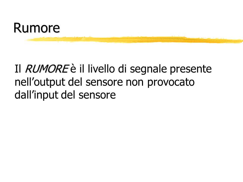 Rumore Il RUMORE è il livello di segnale presente nell'output del sensore non provocato dall'input del sensore.