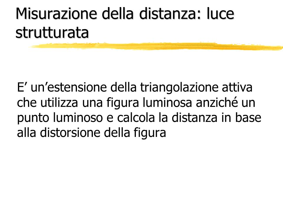 Misurazione della distanza: luce strutturata