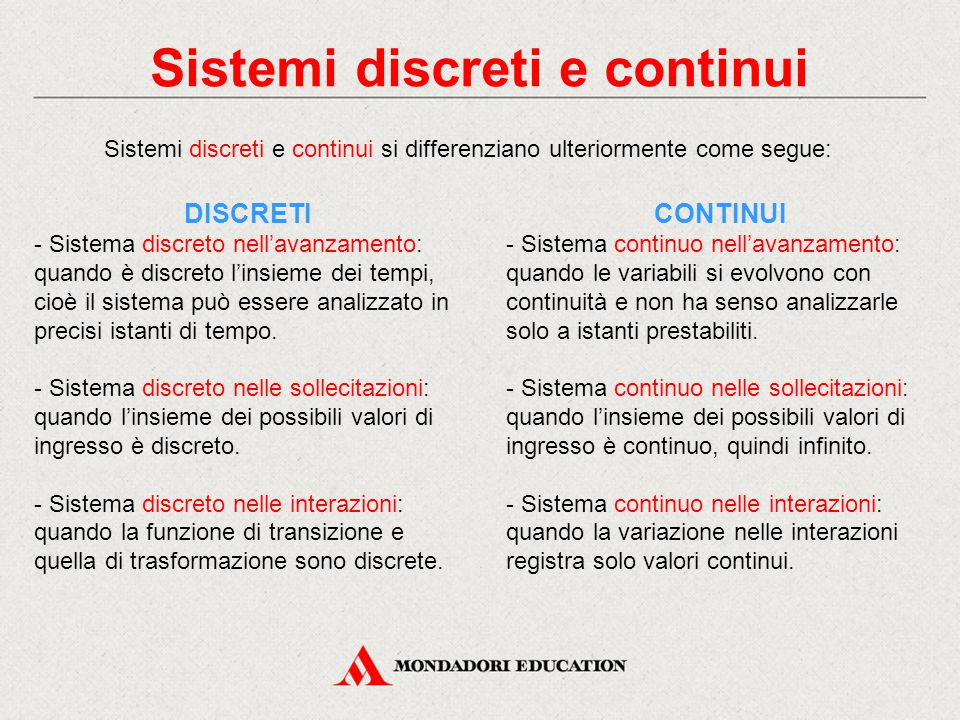 Sistemi discreti e continui