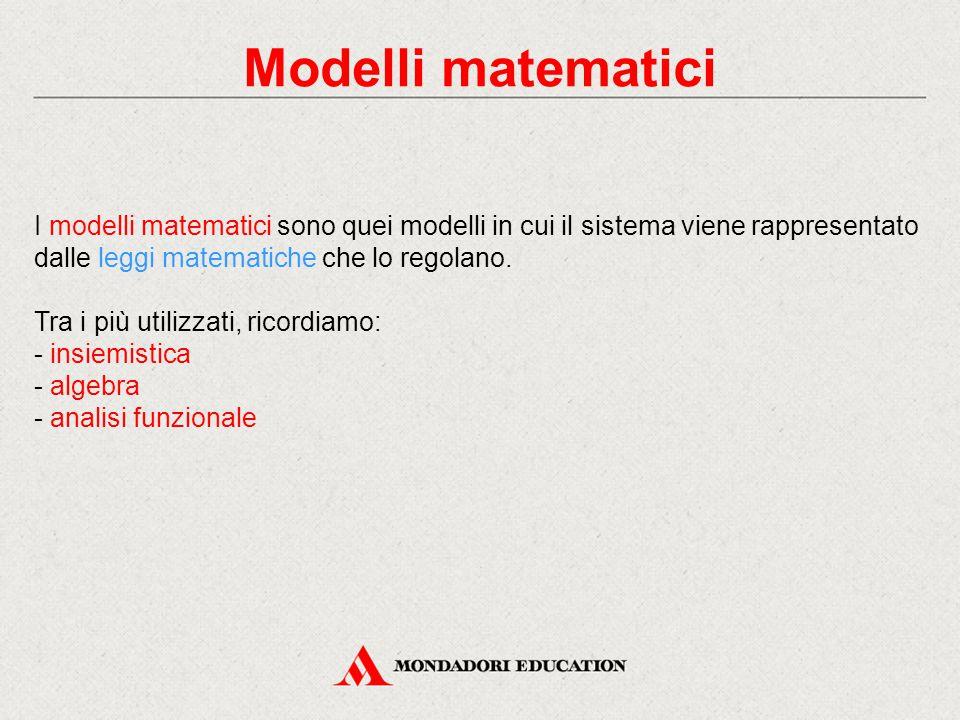 Modelli matematici I modelli matematici sono quei modelli in cui il sistema viene rappresentato dalle leggi matematiche che lo regolano.