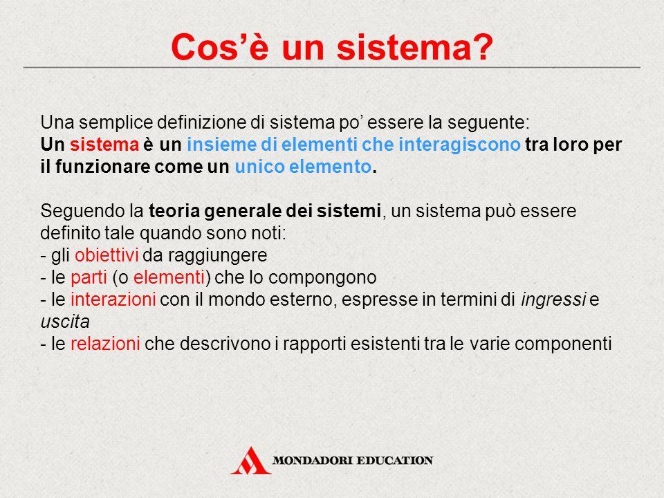 Cos'è un sistema Una semplice definizione di sistema po' essere la seguente: