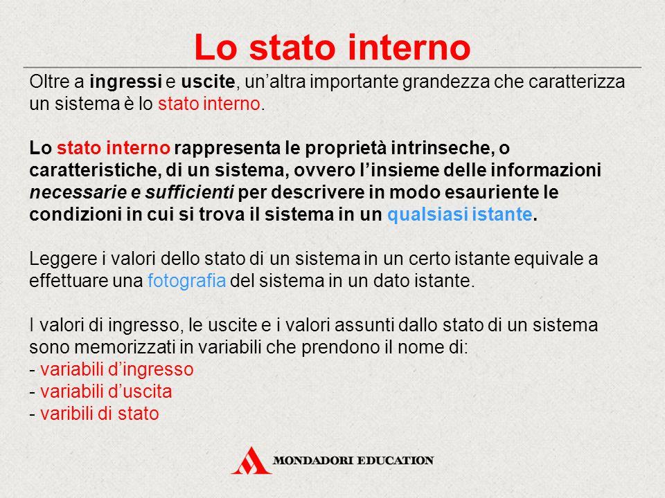 Lo stato interno Oltre a ingressi e uscite, un'altra importante grandezza che caratterizza un sistema è lo stato interno.