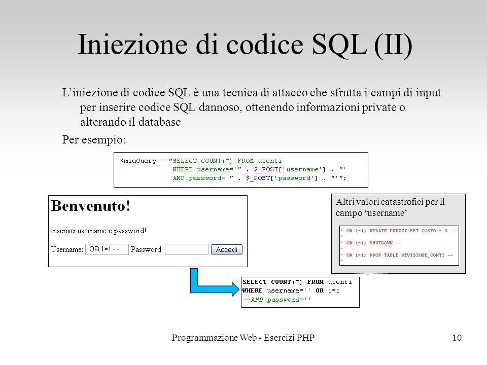 Iniezione di codice SQL (II)