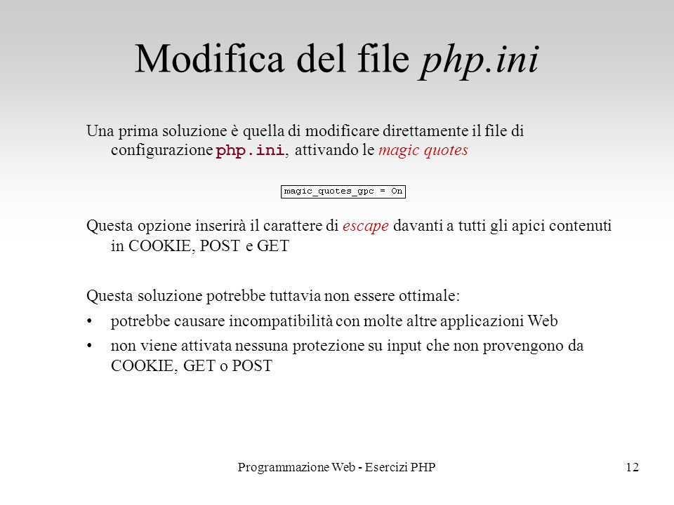 Modifica del file php.ini