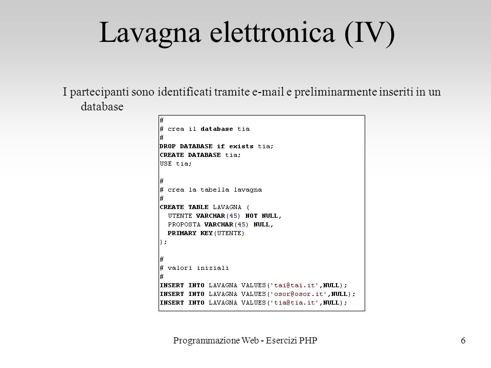 Lavagna elettronica (IV)
