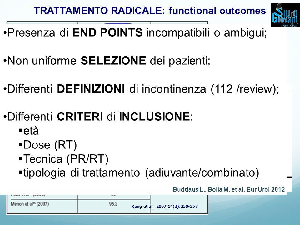 TRATTAMENTO RADICALE: functional outcomes
