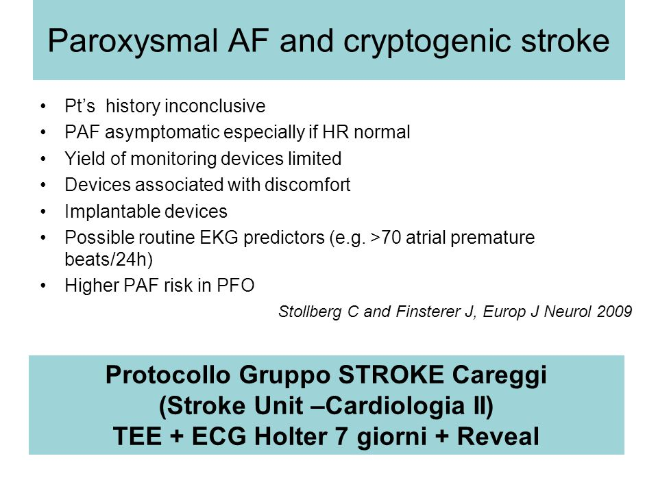 Paroxysmal AF and cryptogenic stroke