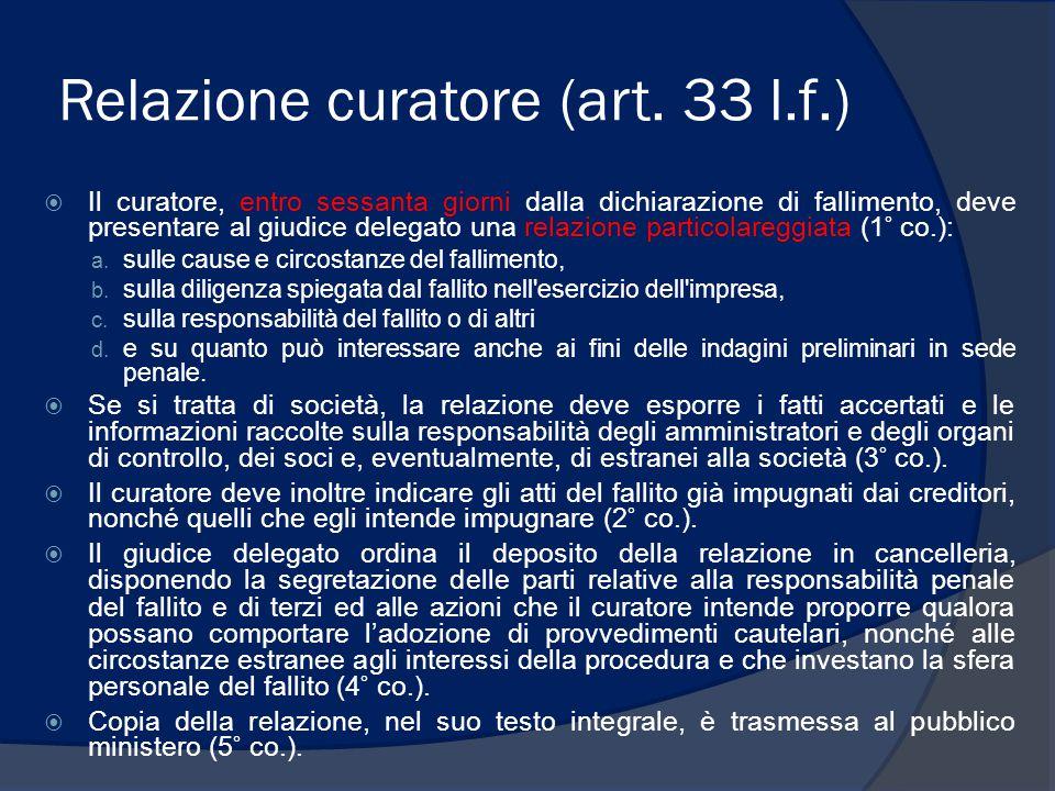 Relazione curatore (art. 33 l.f.)