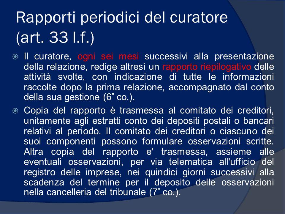 Rapporti periodici del curatore (art. 33 l.f.)