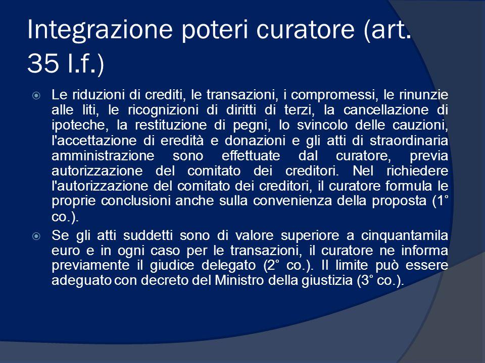 Integrazione poteri curatore (art. 35 l.f.)