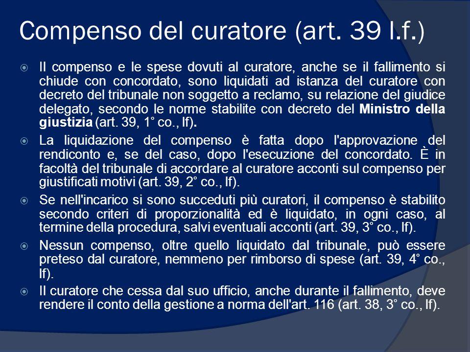 Compenso del curatore (art. 39 l.f.)