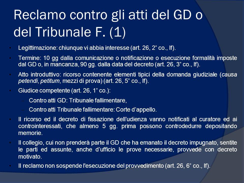 Reclamo contro gli atti del GD o del Tribunale F. (1)