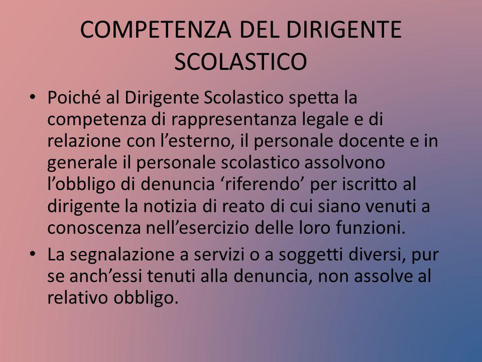 COMPETENZA DEL DIRIGENTE SCOLASTICO