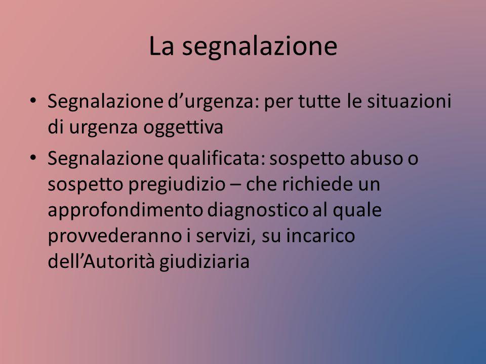 La segnalazione Segnalazione d'urgenza: per tutte le situazioni di urgenza oggettiva.