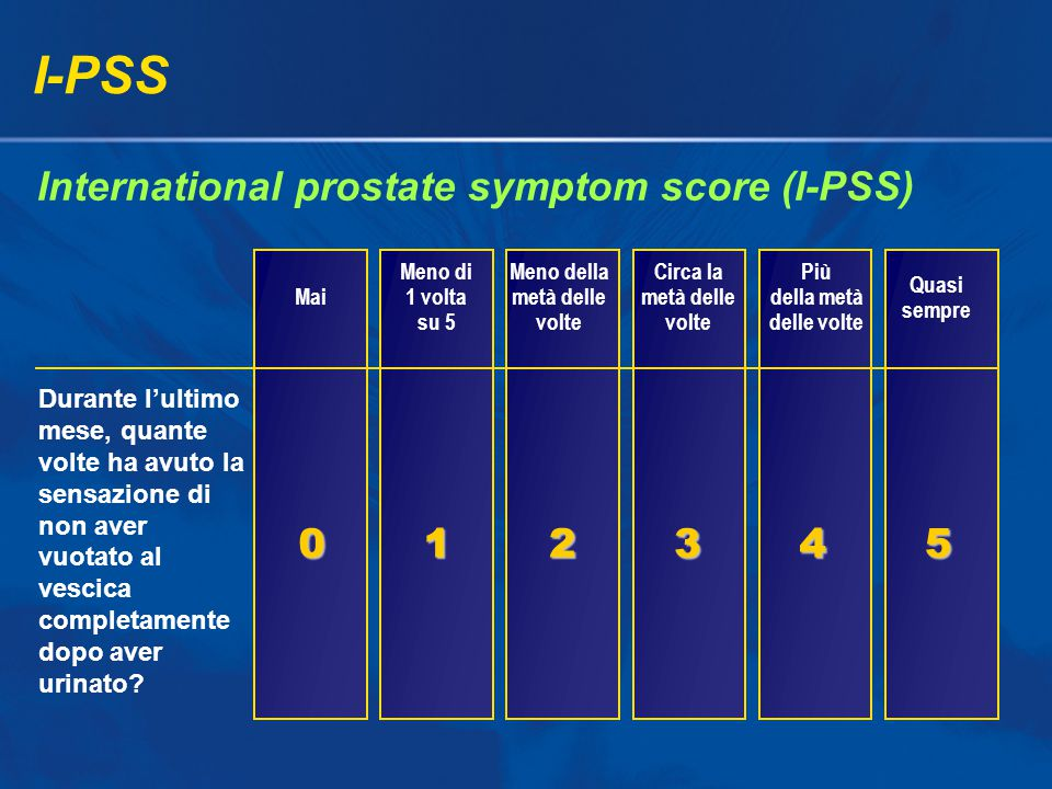 I-PSS International prostate symptom score (I-PSS) 1 2 3 4 5