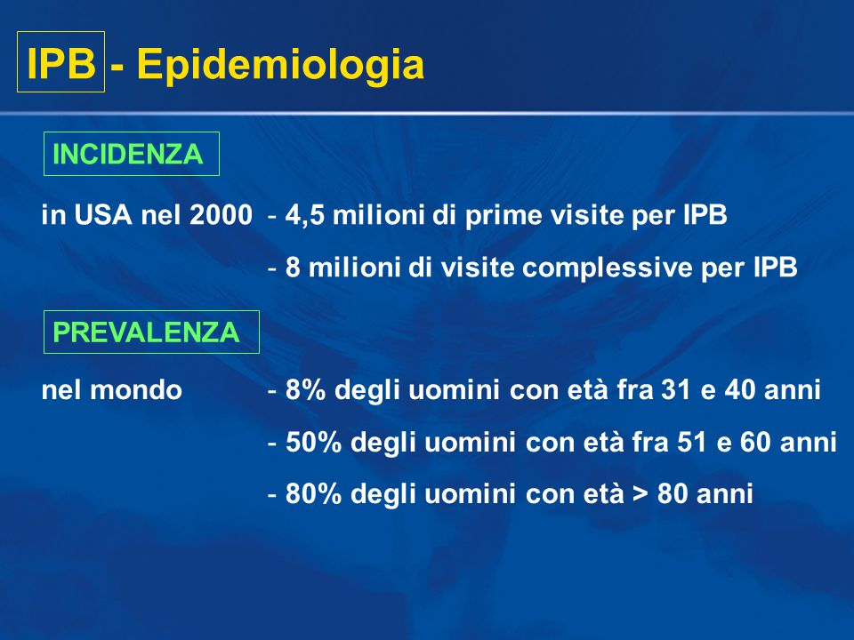 IPB - Epidemiologia INCIDENZA in USA nel 2000