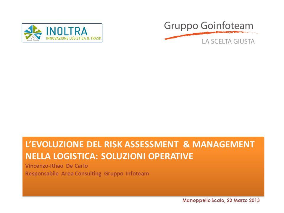L'evoluzione del risk assessment & Management nella logistica: soluzioni operative Vincenzo-Ithao De Carlo Responsabile Area Consulting Gruppo Infoteam