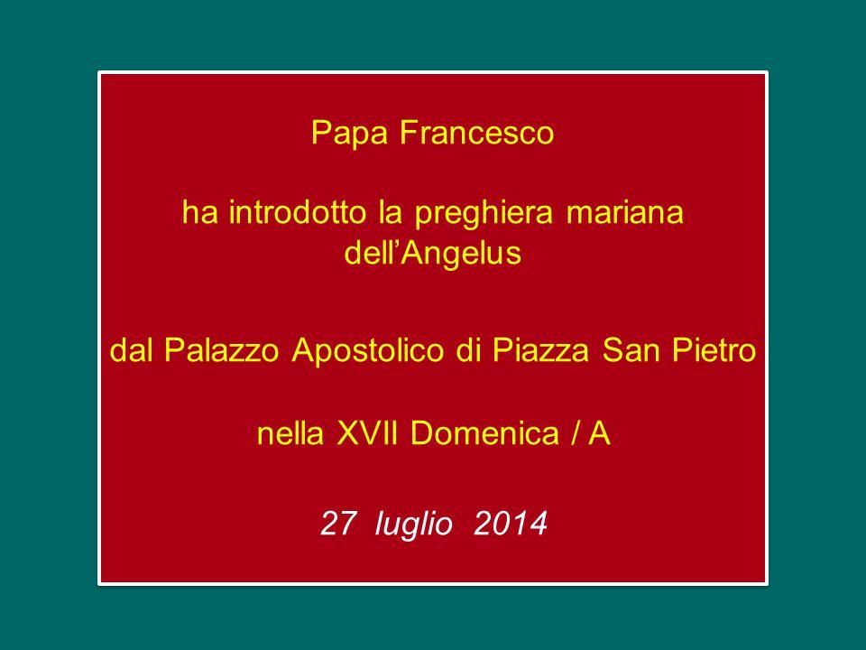 Papa Francesco ha introdotto la preghiera mariana dell'Angelus dal Palazzo Apostolico di Piazza San Pietro nella XVII Domenica / A 27 luglio 2014