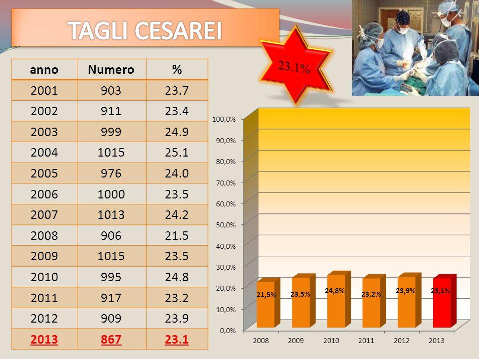 TAGLI CESAREI 23.1% anno Numero % 2001 903 23.7 2002 911 23.4 2003 999