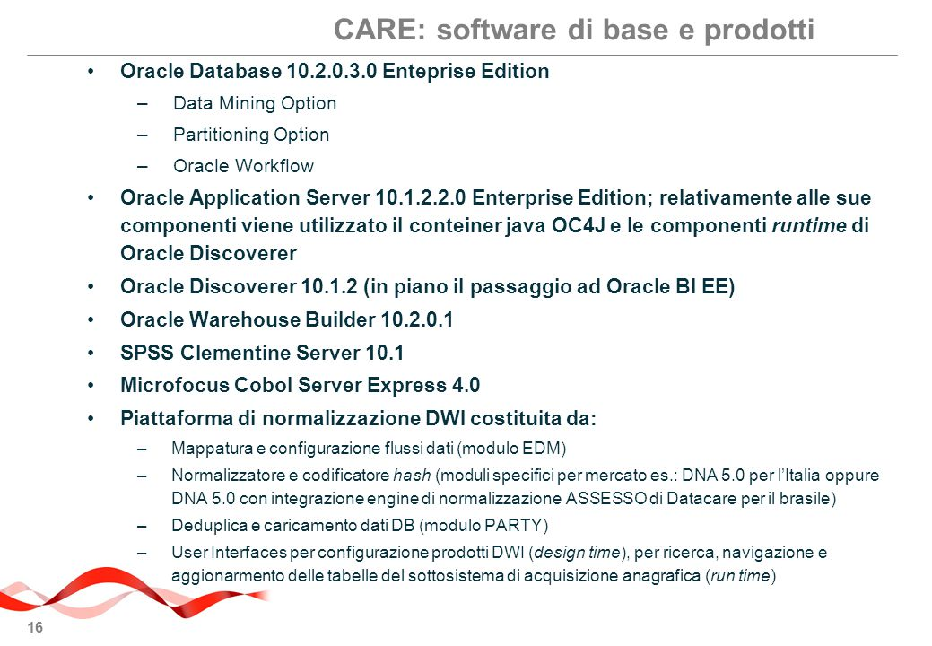 CARE: software di base e prodotti