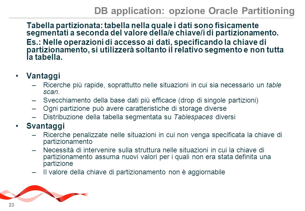 DB application: opzione Oracle Partitioning