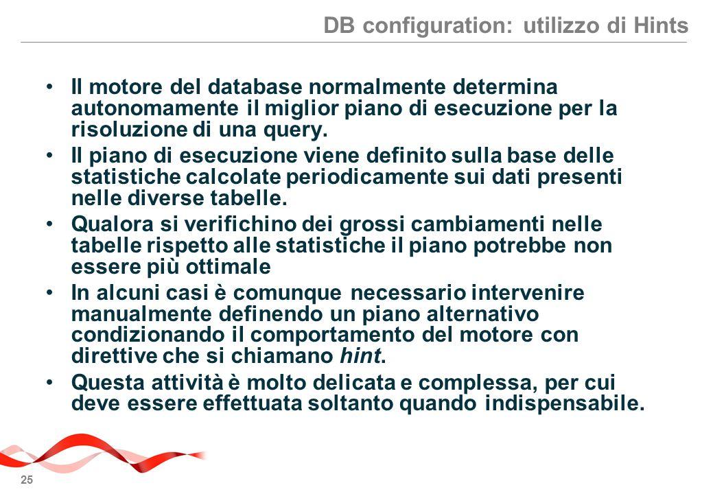 DB configuration: utilizzo di Hints