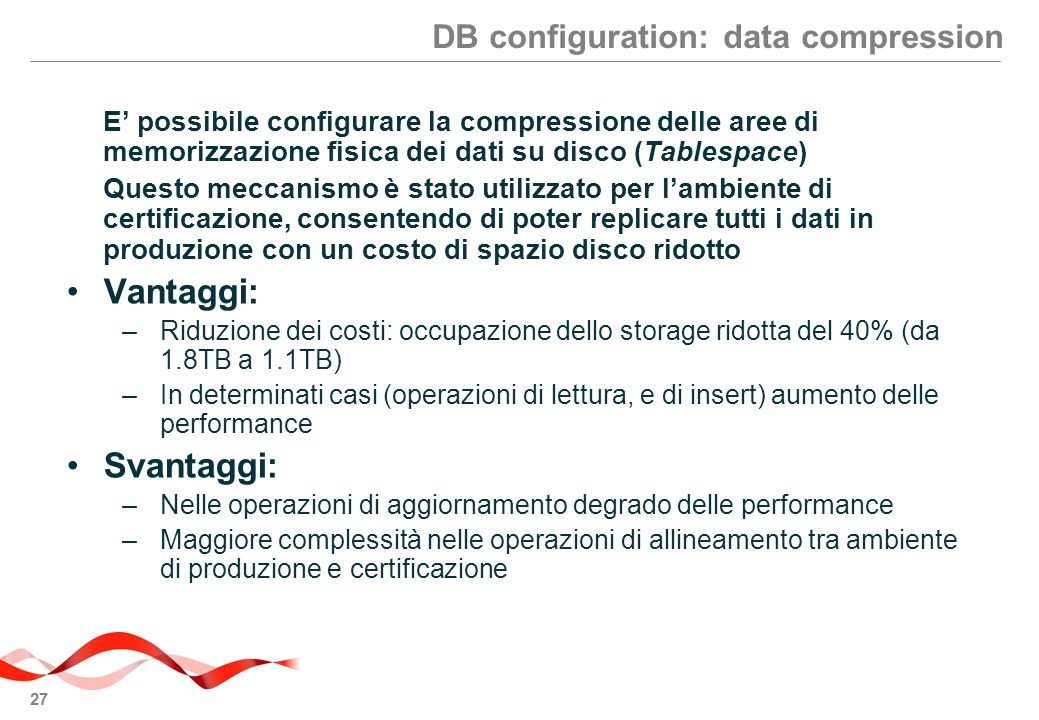 DB configuration: data compression