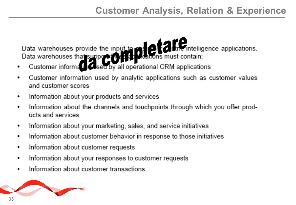 Customer Analysis, Relation & Experience
