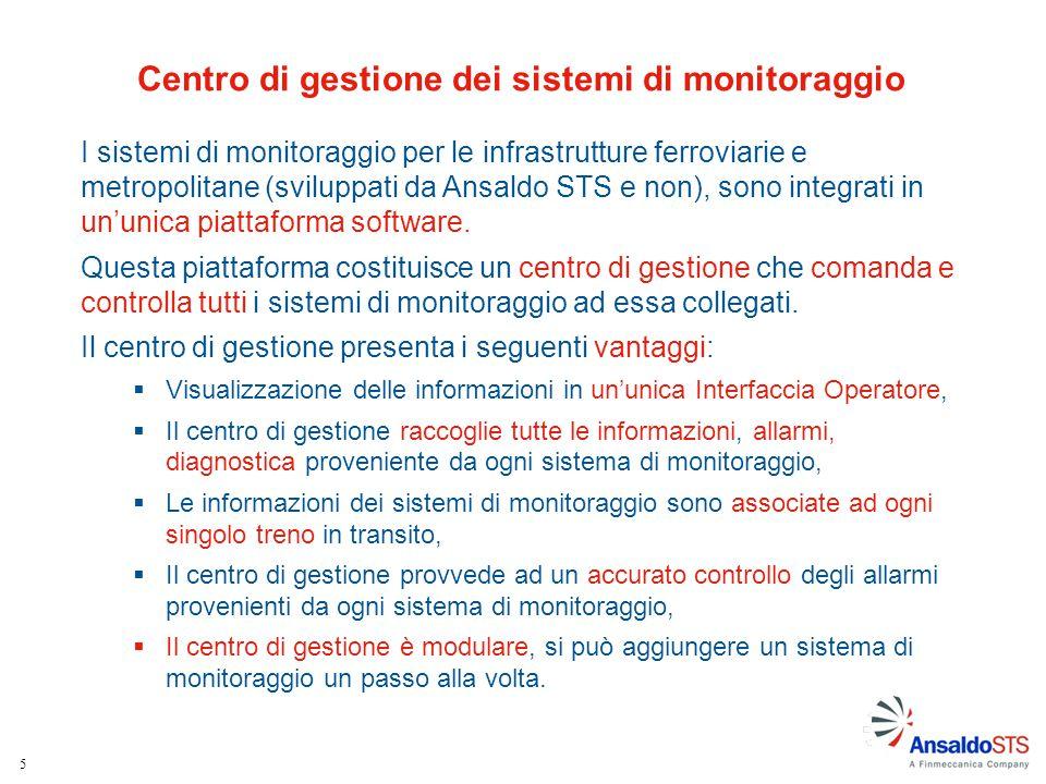 Centro di gestione dei sistemi di monitoraggio