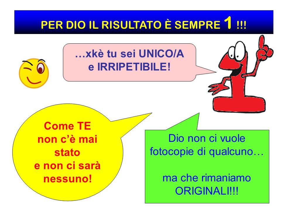 PER DIO IL RISULTATO È SEMPRE 1 !!!