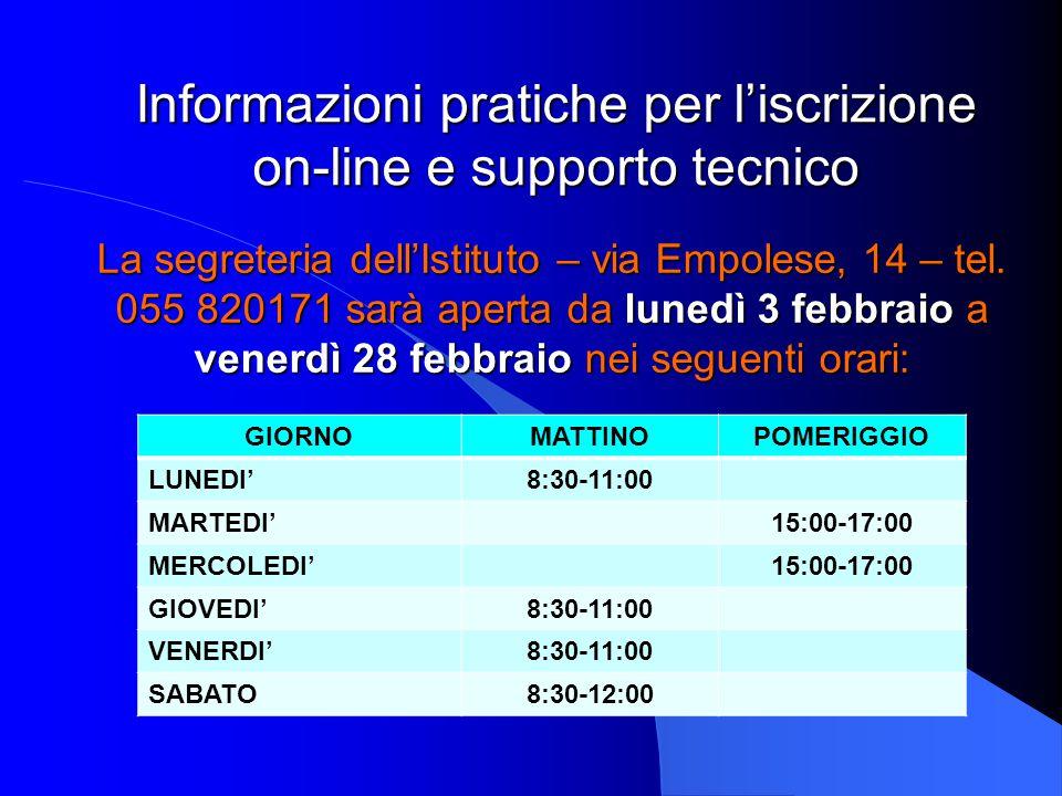Informazioni pratiche per l'iscrizione on-line e supporto tecnico